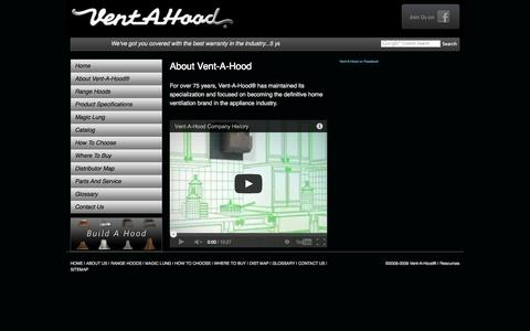 Screenshot of About Page ventahood.com - Kitchen Range Hoods, Ventilations, Blower System - About Us :: Vent-A-Hood® - captured Sept. 25, 2014