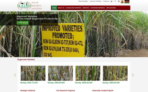Screenshot of Home Page kesref.org - KESREF | linking science and technology to sugarcane productivity. - captured Oct. 6, 2014