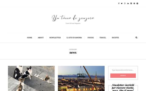 Screenshot of Press Page untoccodizenzero.it - news | Un Tocco di Zenzero - captured Sept. 21, 2018