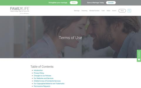 Screenshot of Terms Page familylife.com - Terms of Use - FamilyLife® - captured Aug. 12, 2018