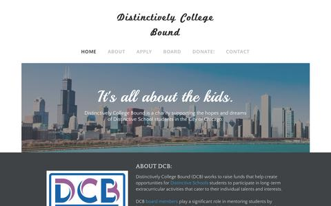 Screenshot of Home Page dcbkids.org - Distinctively College Bound - Home - captured Nov. 22, 2018