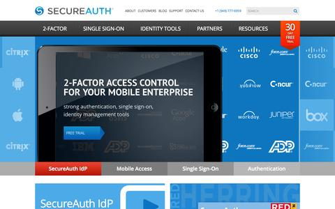 Screenshot of Home Page secureauth.com - 2-Factor Access Control for the Mobile Enterprise | SecureAuth - captured Sept. 17, 2014