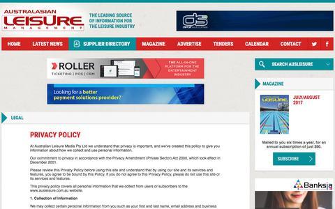 Screenshot of Privacy Page ausleisure.com.au - Legal - Australasian Leisure Management - captured Oct. 9, 2017
