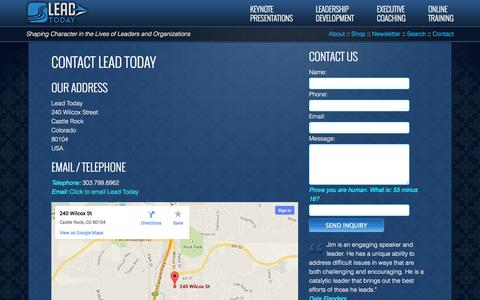 Screenshot of Contact Page lead-today.net - Contact - Lead Today - captured Oct. 27, 2014