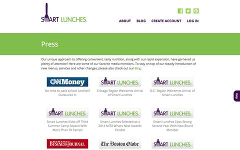 Screenshot of Press Page smartlunches.com - Smart Lunches | Press - captured Sept. 11, 2019