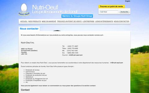 Screenshot of Contact Page nutri-oeuf.com - Nous contacter | Nutri-Oeuf - captured Oct. 7, 2014