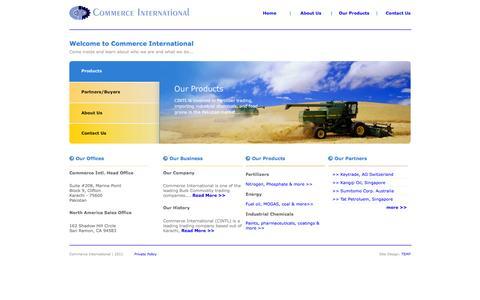 Screenshot of Home Page comintl.com - Commerce International - Pakistan - captured Oct. 2, 2014