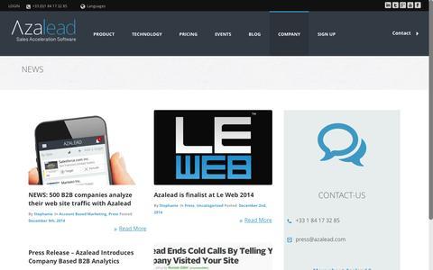 Screenshot of Press Page azalead.com - Press - Azalead - Sales Acceleration Software - captured Dec. 17, 2014