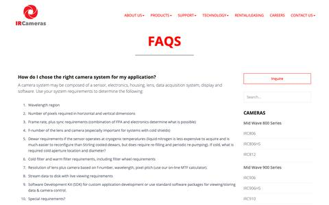 Screenshot of FAQ Page ircameras.com - FAQs - IR Cameras - captured Nov. 5, 2018