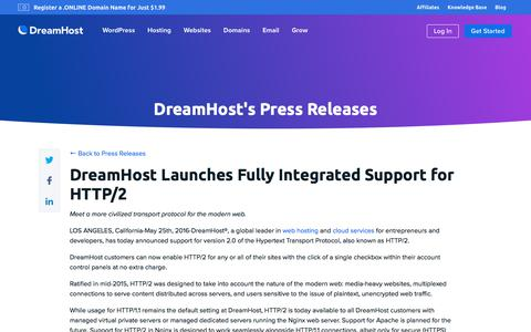 Screenshot of Press Page dreamhost.com - DreamHost Launches Fully Integrated Support for HTTP/2  – DreamHost - captured Feb. 21, 2020