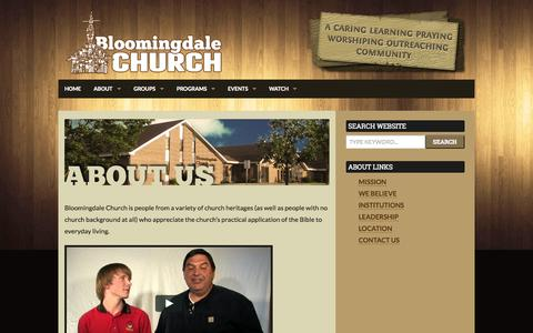 Screenshot of About Page bloomingdalechurch.org - About | Bloomingdale Church - captured Sept. 30, 2014