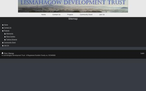 Screenshot of Site Map Page lesmahagowdevtrust.com - Lesmahagow Development Trust - Home - captured Aug. 1, 2017
