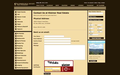 Screenshot of Contact Page kleimer.com - The Kleimer Company vacation planning site for real estate, area restaurants, lodging, skiing, activities, spas, shopping and current events calendar - captured Oct. 6, 2014