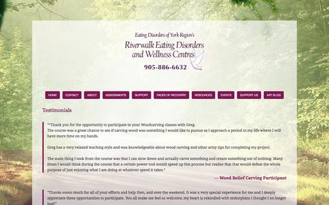 Screenshot of Testimonials Page edoyr.com - Testimonials — Eating Disorders Of York Region - captured Oct. 20, 2016