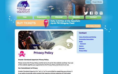 Screenshot of Privacy Page greaterclevelandaquarium.com - » Privacy Policy - captured Nov. 4, 2014