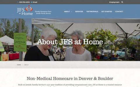 Screenshot of About Page jfsathome.com - Non-Medical Homecare in Denver & Boulder, CO | Jewish Senior Care - captured March 23, 2016