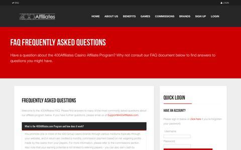 Screenshot of FAQ Page 400affiliates.com - Affiliate Program FAQ   400Affiliates - captured Oct. 18, 2018