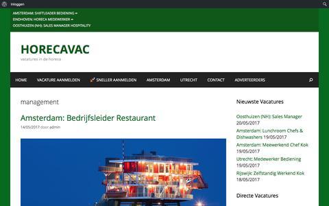 Screenshot of Team Page horecavac.nl - management Archieven - HORECAVAC - captured May 22, 2017