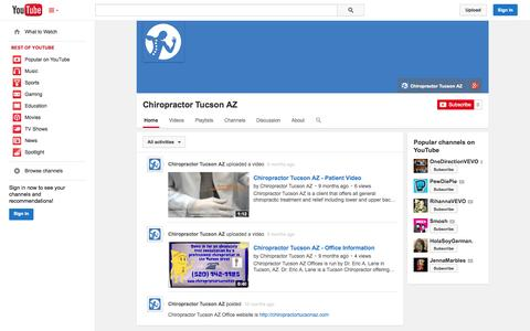 Screenshot of YouTube Page youtube.com - Chiropractor Tucson AZ  - YouTube - captured Oct. 22, 2014