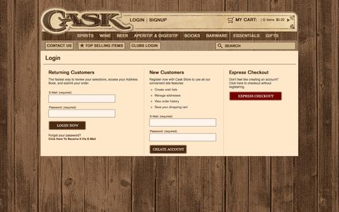 Screenshot of Signup Page Login Page caskstore.com - Sign-In | Cask Store - captured Oct. 22, 2014