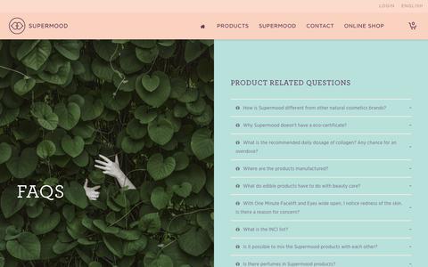 Screenshot of FAQ Page supermood.fi - FAQs   SUPERMOOD - captured Dec. 17, 2016