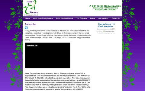 Screenshot of Testimonials Page hopethroughgrace.org - Testimonials :: Hope Through Grace - captured Oct. 1, 2014