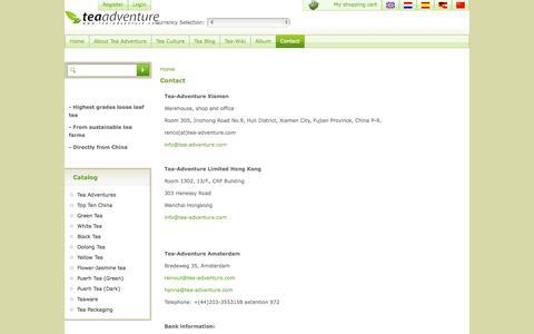 Screenshot of Contact Page tea-adventure.com - Contact - captured Oct. 3, 2014