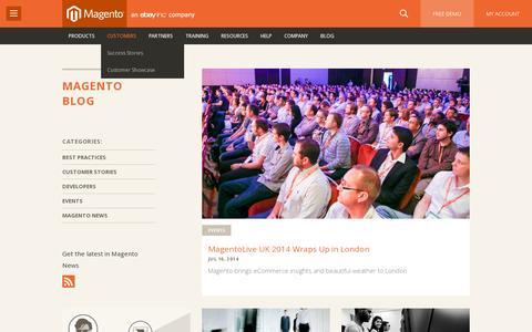 Screenshot of Blog magento.com - Ecommerce Blog - Ecommerce Tips & Best Practices from Magento - captured July 20, 2014