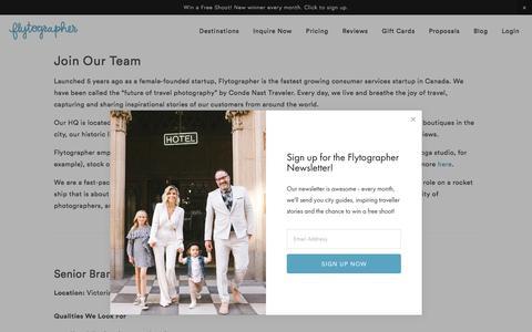 Screenshot of Jobs Page flytographer.com - Join our Team - captured Jan. 19, 2018