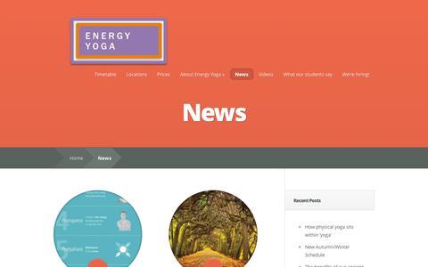 Screenshot of Blog Press Page energyoga.co.uk - News Archives - Yoga London - Energy Yoga - captured Oct. 23, 2014