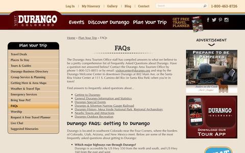 Screenshot of FAQ Page durango.org - FAQs | Official Tourism Site of Durango, Colorado - captured Feb. 9, 2016