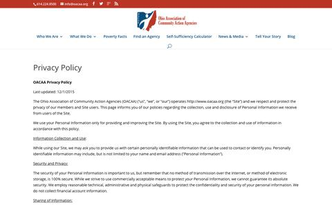 Screenshot of Privacy Page oacaa.org - Privacy Policy | OACAA - captured Oct. 18, 2018