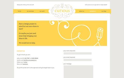 Screenshot of Contact Page curiousdesign.ie - contact us | free quotes | Curious Design - captured Oct. 3, 2014