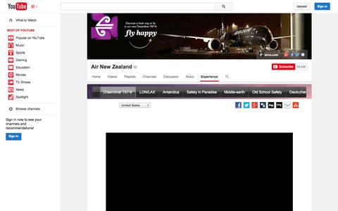 Screenshot of YouTube Page youtube.com - Air New Zealand  - YouTube - captured Oct. 21, 2014