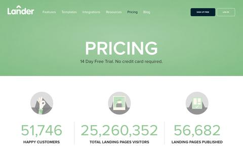 Screenshot of Pricing Page landerapp.com - Lander Pricing: 14 Day Free Trial. Create unlimited landing pages - captured Feb. 26, 2016