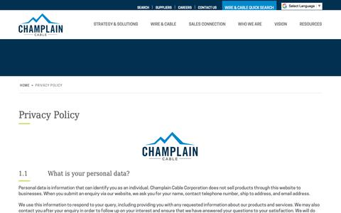 Screenshot of Privacy Page champcable.com - Privacy Policy - Champlain Cable - captured Sept. 27, 2018