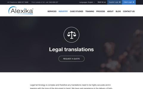 Screenshot of Terms Page alexika.com - Professional Legal Translation Services - Alexika - captured Feb. 5, 2016