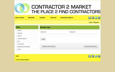 Screenshot of Login Page contractor2market.com - Contractor 2 Market - captured July 16, 2016