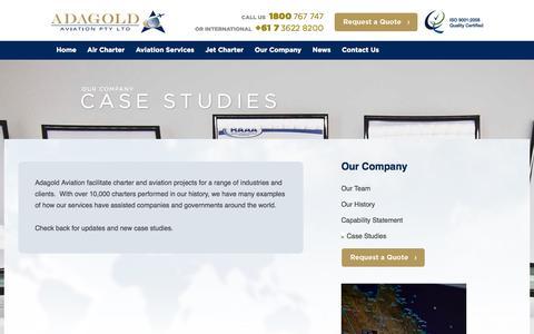 Screenshot of Case Studies Page adagold.com.au - Case Studies & Testimonials   Adagold Aviation - captured Oct. 4, 2014