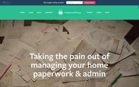 Screenshot of Home Page nomorefiling.co.uk - No More Filing - captured Aug. 11, 2015