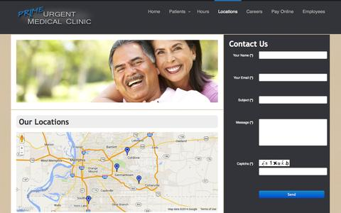 Screenshot of Locations Page primeurgentmedicalclinic.com - Prime Urgent Care Locations Southaven Memphis Cordova Collierville - captured Sept. 30, 2014