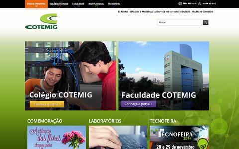 Screenshot of Home Page cotemig.com.br - Cotemig - Colégio Técnico e Faculdade - captured Sept. 23, 2014