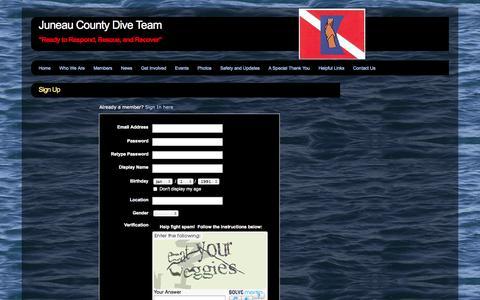 Screenshot of Signup Page webs.com - Signup - Juneau County Dive Team - captured Sept. 13, 2014