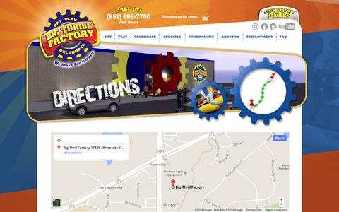 Screenshot of Contact Page Maps & Directions Page bigthrillfactory.com - Directions to Big Thrill Factory - captured Oct. 23, 2014