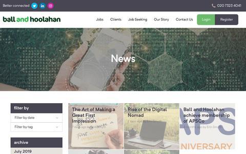 Screenshot of Blog Press Page ballandhoolahan.co.uk - Blog - Ball and Hoolahan - captured July 16, 2019