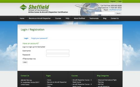 Screenshot of Login Page sheffield.com - Login - Sheffield School of Aeronautics - captured Oct. 7, 2014