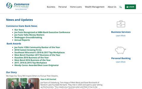 Screenshot of Press Page commercestatebank.com - Commerce State Bank: News and Updates - captured July 20, 2018