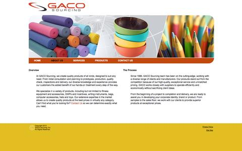 Screenshot of About Page gacosourcing.com - GACO Sourcing | About Us | Overview | The Process | Prototypes | Quality Check | Inspections | Delivery | Quality Products | Contact Us - captured Sept. 26, 2014