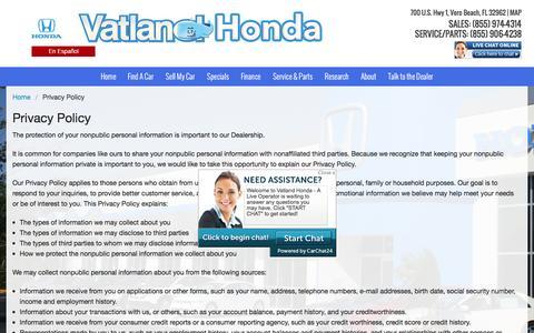 Screenshot of Privacy Page vatland.com - Privacy Policy   Vatland Honda in Vero Beach, FL - captured Feb. 26, 2016