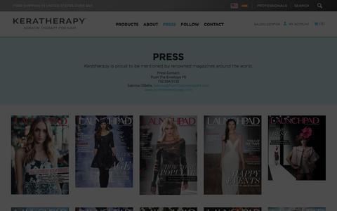 Screenshot of Press Page keratherapy.com - Press - captured Sept. 20, 2018